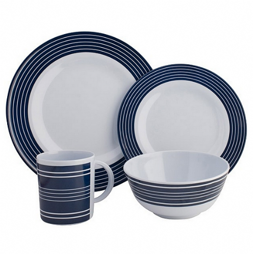 Melamine Dinner Set Navy Pinstripe - 16 Piece
